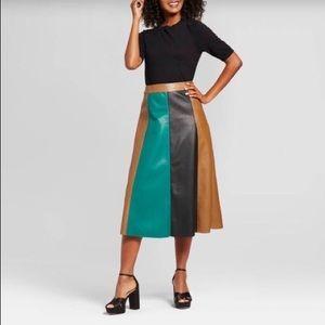 Color Block High Waist A-line Pleather Midi Skirt